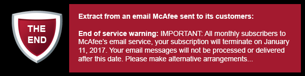 McAfee - End of service warning