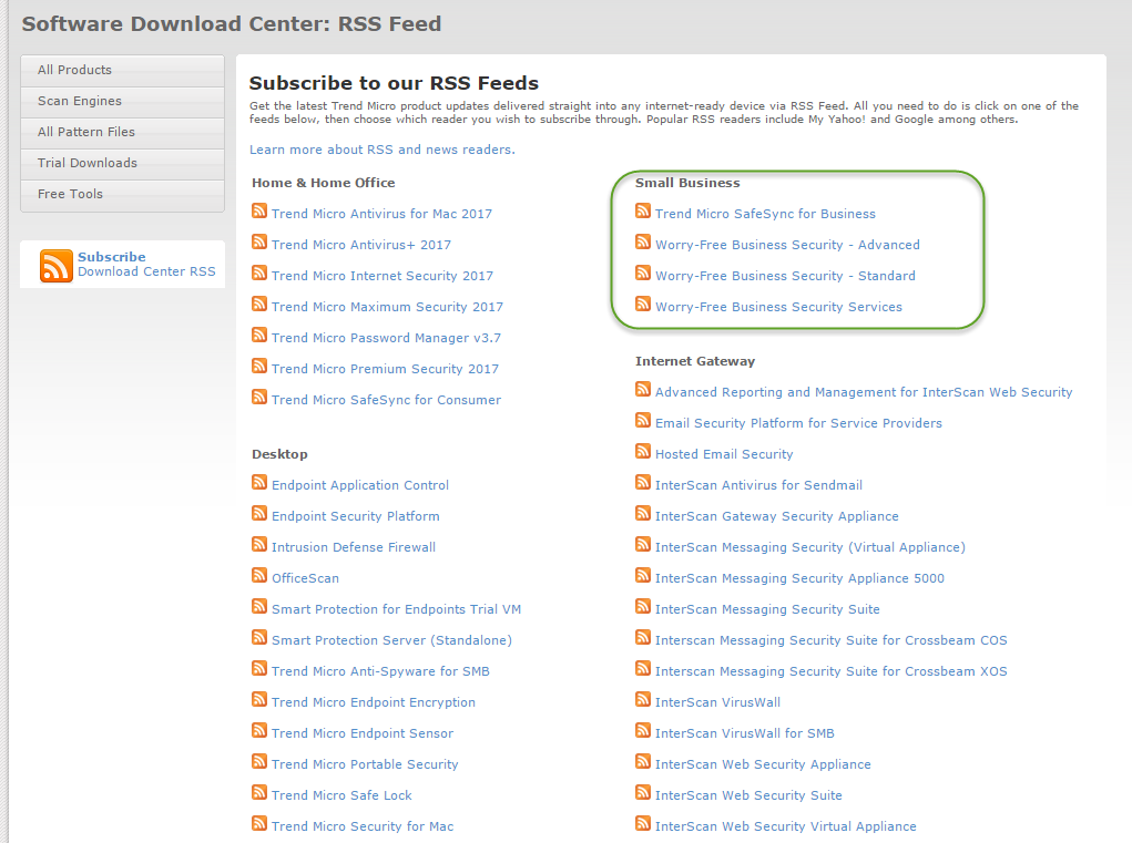 Trend Micro software download RSS Feed